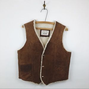 Vintage • Suede Leather Sherpa Lined Vest